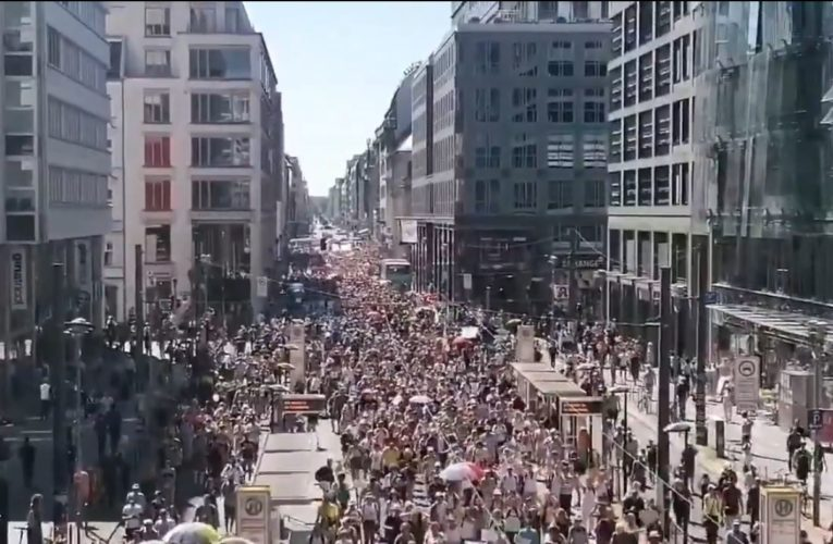 Berlin: Wielka demonstracja przeciwko restrykcjom związanym z pandemią koronawirusa [WIDEO]