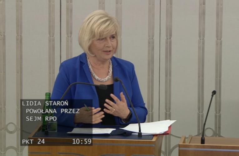 Senat nie poparł sejmowego wyboru Lidii Staroń na Rzecznika Praw Obywatelskich